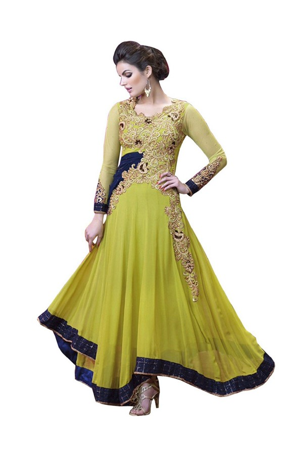 Georgette Embroidered Green Anarkali Salwar Kameez ( EBSFSK25 )