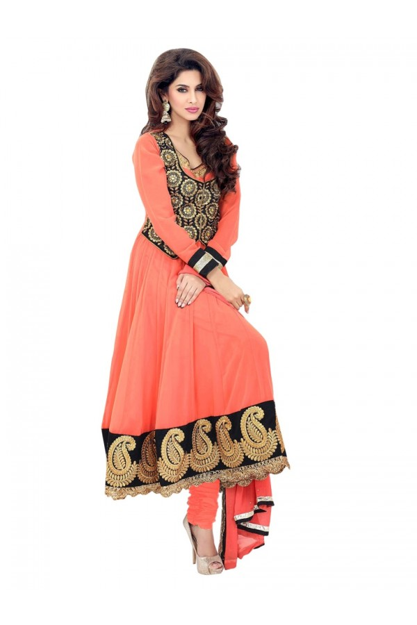 Georgette Embroidered Orange Anarkali Salwar Kameez ( EBSFSK25 )