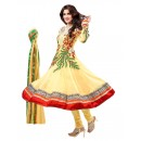 Georgette Embroidered Yellow Anarkali Salwar Kameez ( EBSFSK25 )