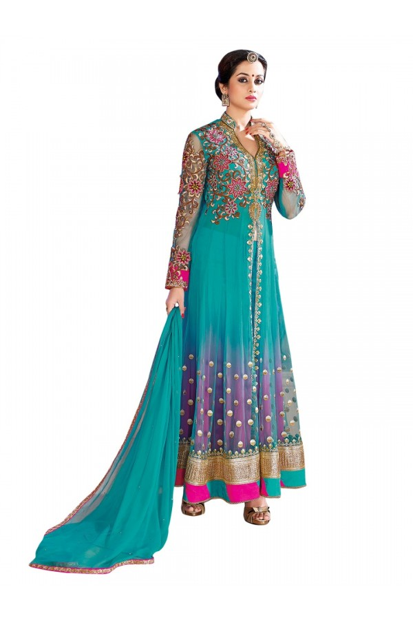 Net Embroidered Blue Anarkali Salwar Kameez ( EBSFSK25 )