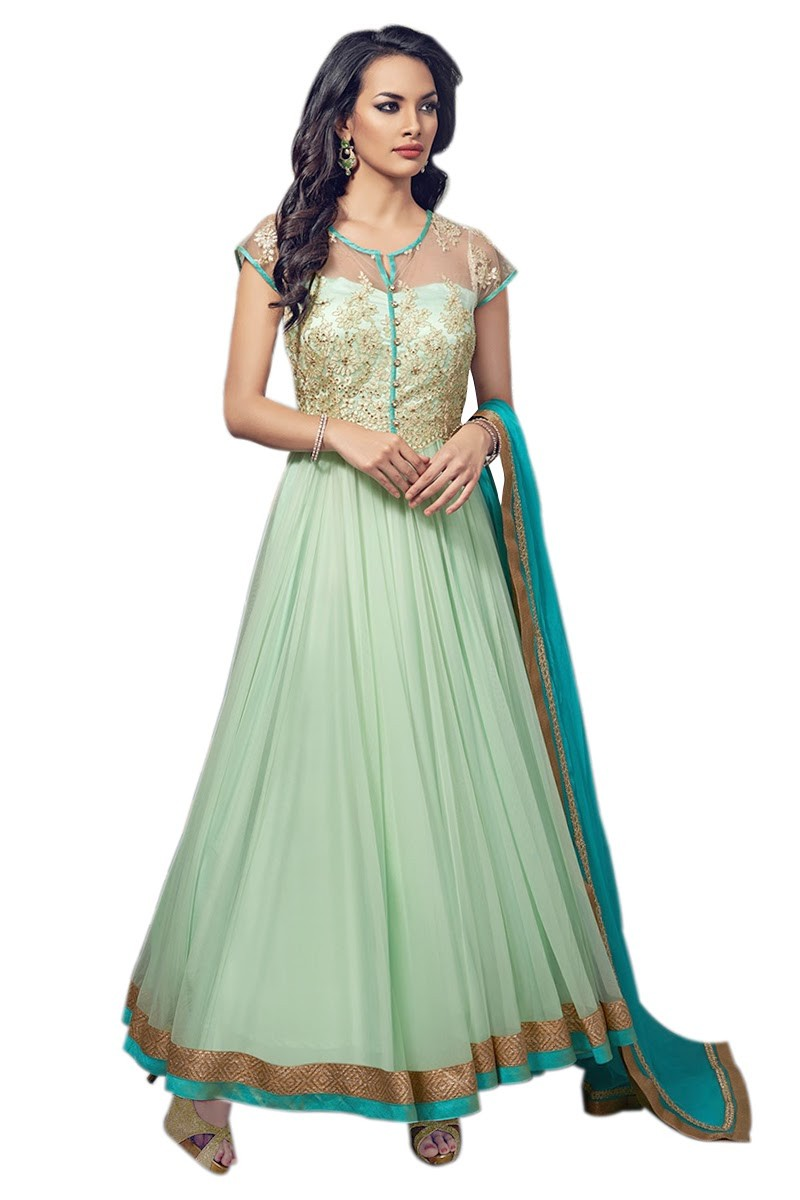 Net Embroidered Green Anarkali Salwar Kameez ( EBSFSK25 )
