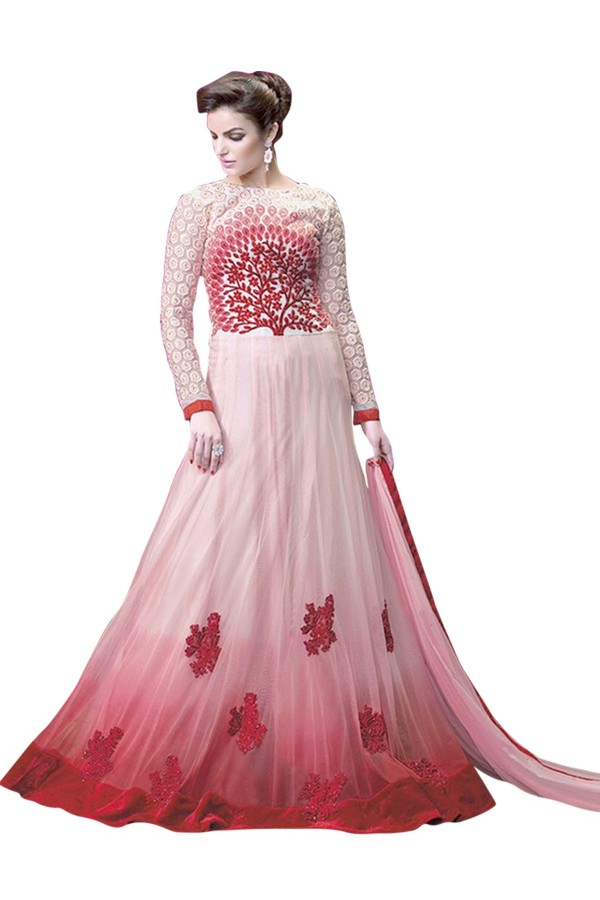 Net Embroidered Light Pink Anarkali Salwar Kameez ( EBSFSK25 )