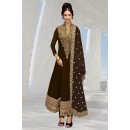 Georgette Embroidered Brown Anarkali Salwar Kameez - EBSFSK267037B ( EBSFSK26 )