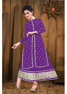 Georgette Embroidered Purple Anarkali Salwar Kameez - EBSFSK267036C ( EBSFSK26 )