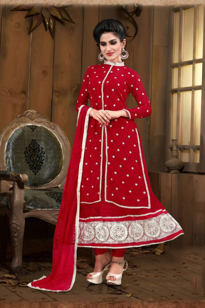 Georgette Embroidered Red Anarkali Salwar Kameez - EBSFSK267036A ( EBSFSK26 )