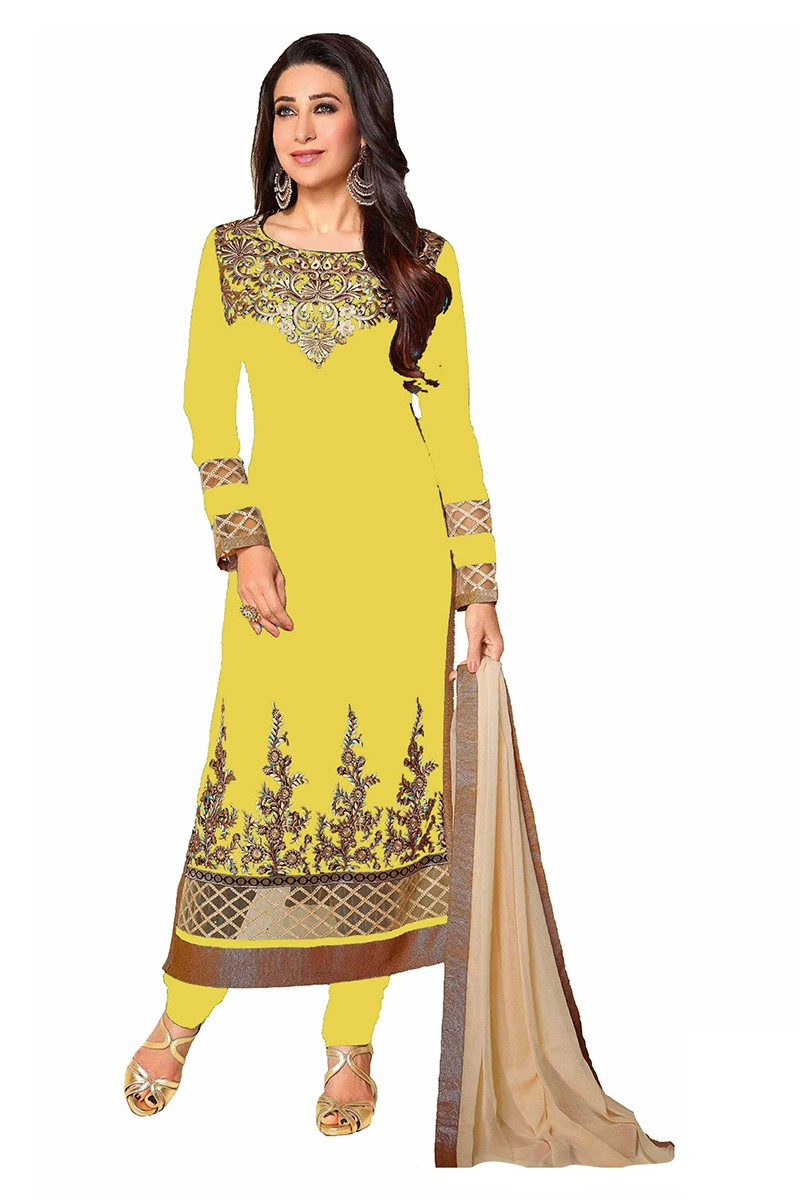 Georgette Embroidered Yellow Salwar Kameez - EBSFSK267039B ( EBSFSK26 )