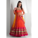 Net Embroidered Orange & Pink Lehenga Choli -  EBSFSK267049 ( EBSFSK26 )