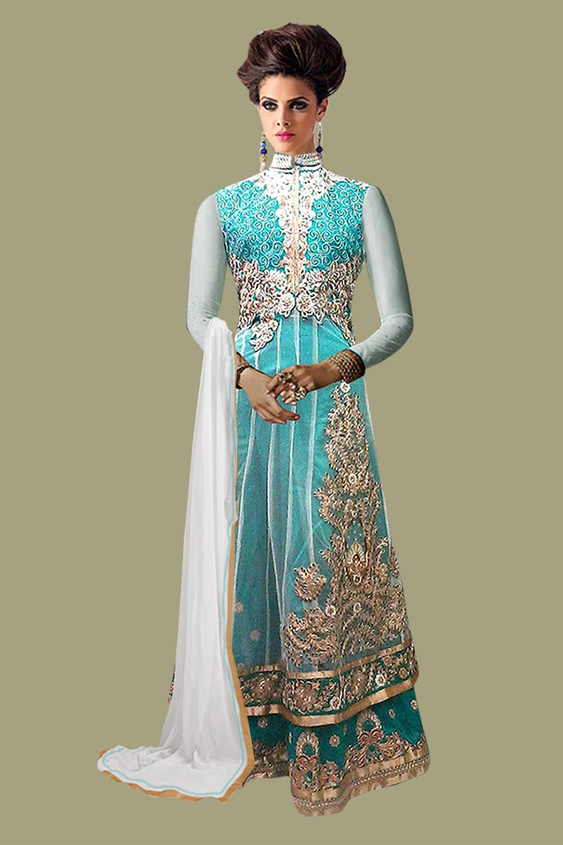 Net Embroidered Sky Blue Anarkali Salwar Kameez - EBSFSK267001 ( EBSFSK26 )