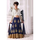 Velvet Button Work White Lehenga Choli -  EBSFSK267045 ( EBSFSK26 )