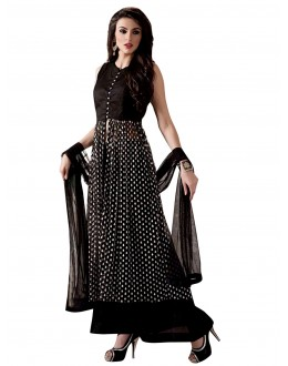 Banglori Silk Button Work Black Anarkali Salwar Kameez  - EBSFSK28931 ( EBSFSK28 )