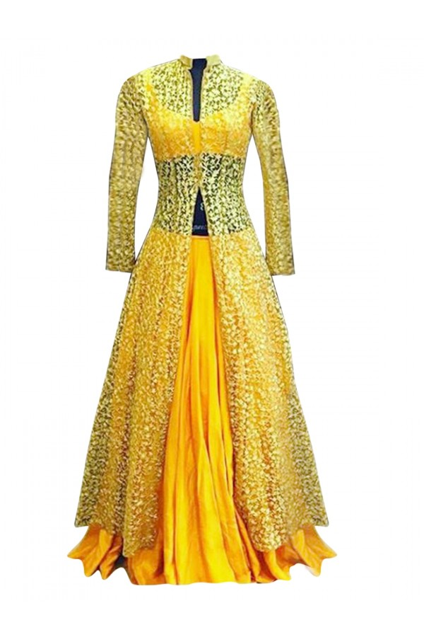 Bhagalpuri & Net Embroidered Yellow Lehenga Suit - EBSFSK28927 ( EBSFSK28 )