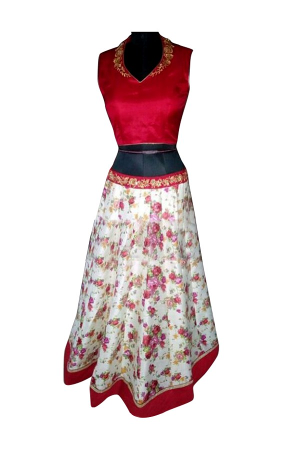 Bhagalpuri Embroidered Red Lehenga Suit - EBSFSK28920 ( EBSFSK28 )
