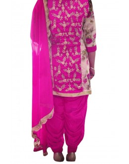 Bhagalpuri Silk Embroidered Pink Patiyala Suit - EBSFSK28902 ( EBSFSK28 )