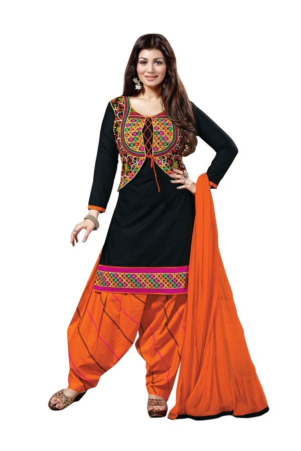 Cotton Embroidered Black Patiyala Suit - EBSFSK28906 ( EBSFSK28 )
