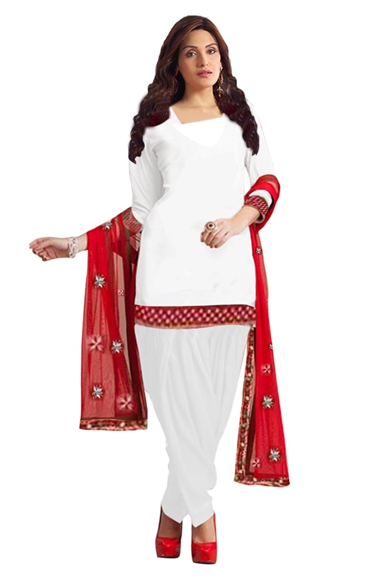 Cotton Embroidered White Patiyala Suit - EBSFSK28928 ( EBSFSK28 )