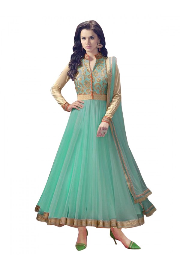 Net Embroidered Blue Anarkali Salwar Kameez  - EBSFSK28929 ( EBSFSK28 )