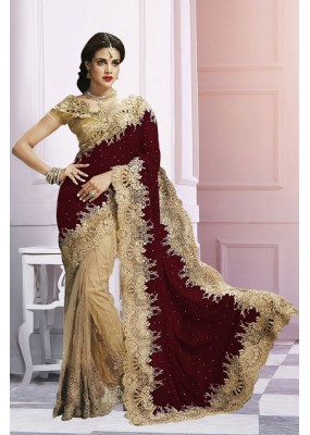 Wedding Wear Beige & Maroon Saree  - EBSFS212106E