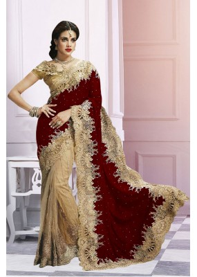 Wedding Wear Beige & Red Saree   - EBSFS212106F