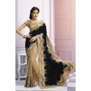 Wedding Wear Beige & Black Saree  - EBSFS212106G