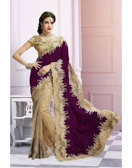 Wedding Wear Beige & Purple Saree  - EBSFS212106H