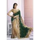 Wedding Wear Beige & Green Saree  - EBSFS212106I