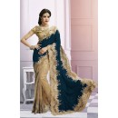 Wedding Wear Beige & Blue Saree  - EBSFS212106J