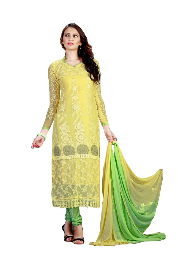 Chiffon Embroidered Yellow Salwar Kameez - EBSFSK291016 ( EBSFSK29 )