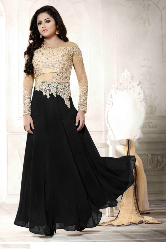 Georgette Embroidered Black Anarkali Salwar Kameez - EBSFSK223059B ( EBSFSK22 )