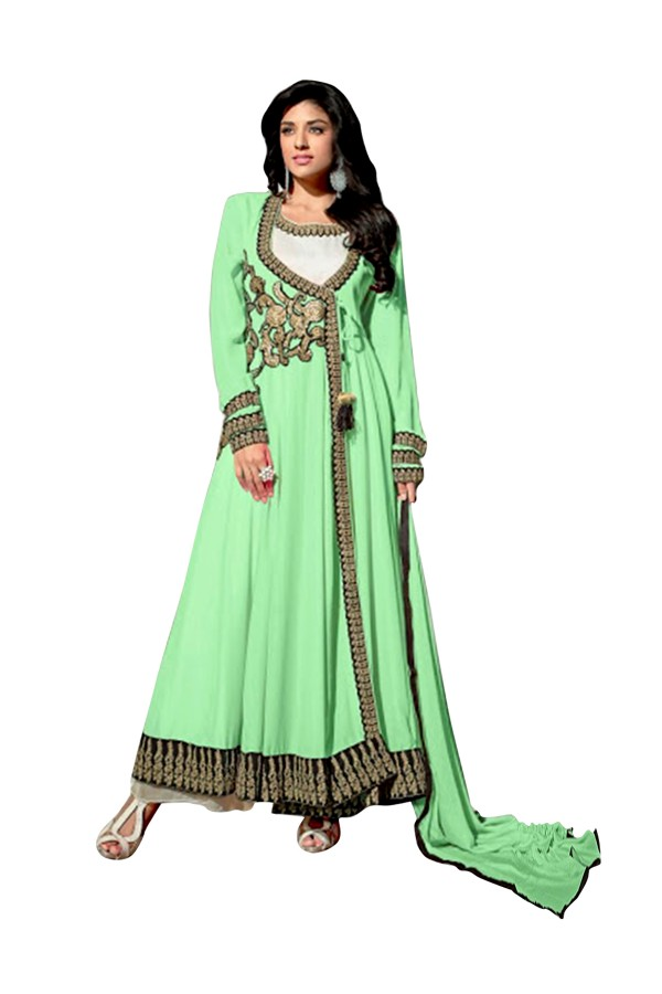 Georgette Embroidered Green Anarkali Salwar Kameez - EBSFSK291013 ( EBSFSK29 )
