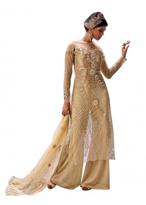 Party Wear Net Embroidered Beige Palazzo Suit - EBSFSK291004 ( EBSFSK29 )
