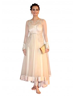 Bollywood Replica - Designer Embroidered Net Cream Anarkali Salwar Suit -  EBSFSK302028 ( EBSFSK30 )