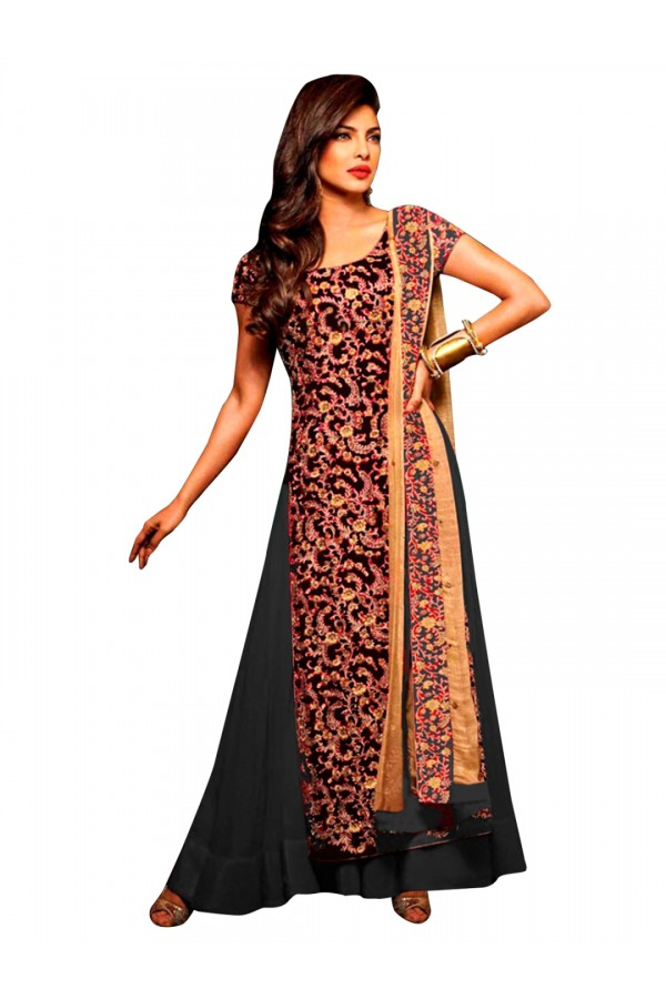 Bollywood Replica - Party Wear Embroidered Georgette Black Lehenga Suit - EBSFSK302002B ( EBSFSK30  )