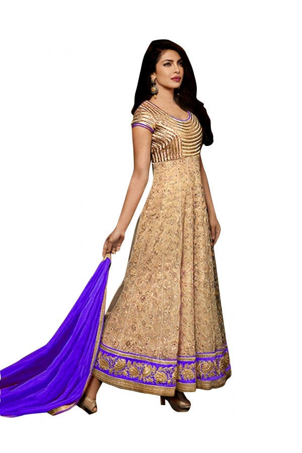 Bollywood Replica - Party Wear Embroidered Net Beige Anarkali Salwar Suit -  EBSFSK302027A ( EBSFSK30 )