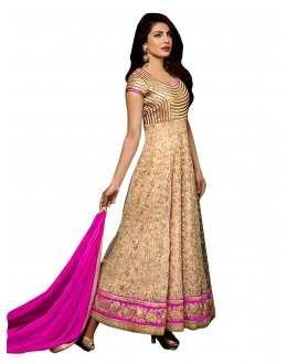 Bollywood Replica - Party Wear Embroidered Net Beige Anarkali Salwar Suit -  EBSFSK302027B ( EBSFSK30 )