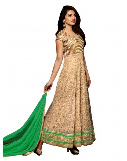 Bollywood Replica - Party Wear Embroidered Net Beige Anarkali Salwar Suit -  EBSFSK302027C ( EBSFSK30 )