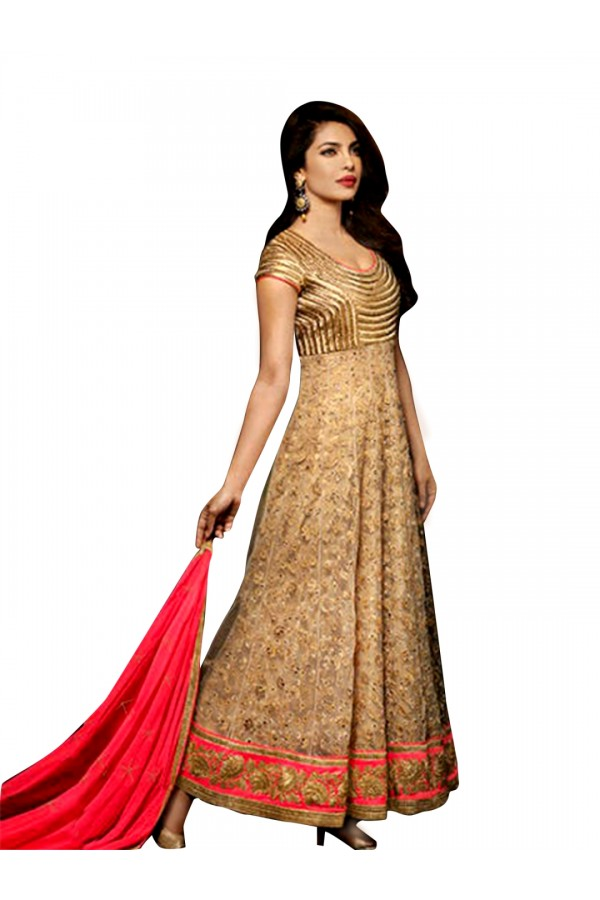 Bollywood Replica - Party Wear Embroidered Net Beige Anarkali Salwar Suit -  EBSFSK302027D ( EBSFSK30 )
