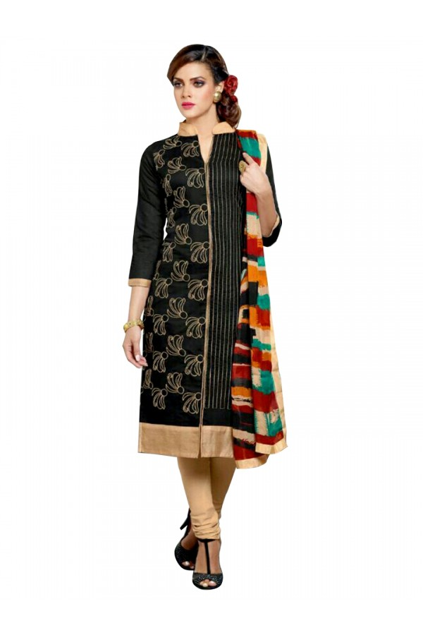 Casual Wear Embroidered Chanderi Cotton Black Straight Cut Salwar Suit -  EBSFSK302019 ( EBSFSK30 )