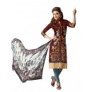 Casual Wear Embroidered Chanderi Cotton Brown Straight Cut Salwar Suit -  EBSFSK302020 ( EBSFSK30 )
