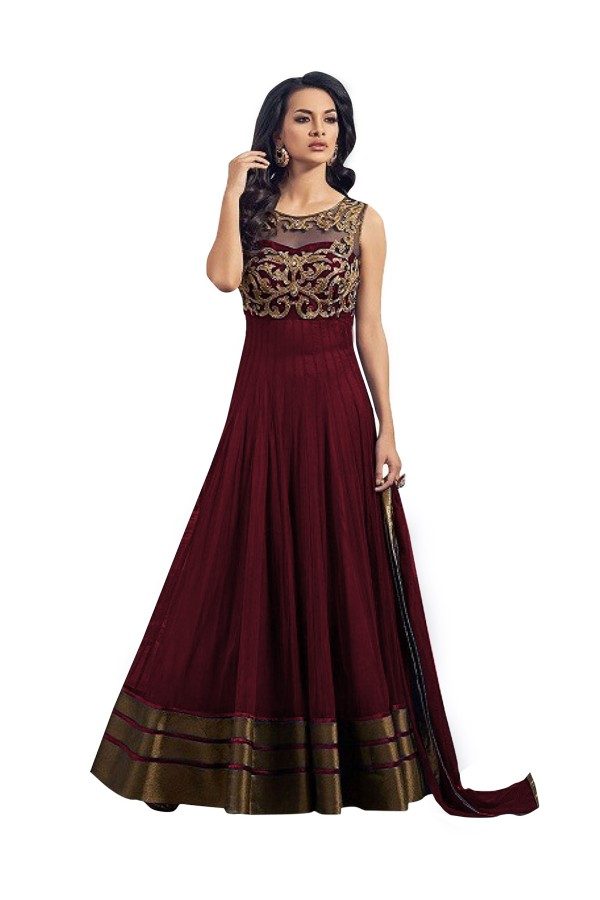 Party Wear Embroidered Banglori Silk Maroon Anarkali Salwar Suit -  EBSFSK302013A ( EBSFSK30 )