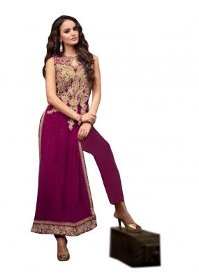 Party Wear Embroidered Georgette Magenta Straight Cut Salwar Suit -  EBSFSK302032 ( EBSFSK30 )