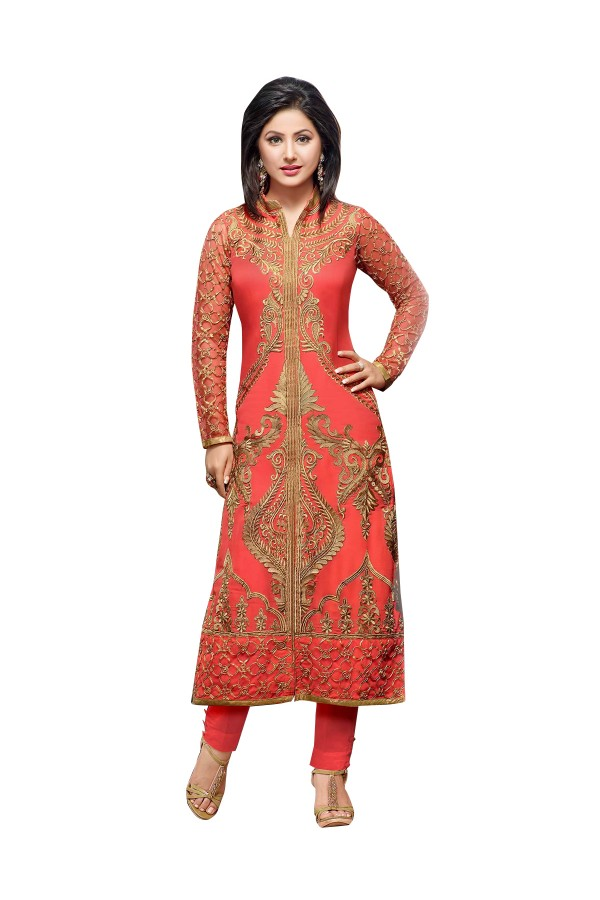 Party Wear Embroidered Georgette Peach Straight Cut Salwar Suit -  EBSFSK302035 ( EBSFSK30 )