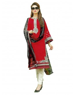 Traditional Embroidered Heavy Cotton Red Straight Cut Salwar Suit -  EBSFSK302037B ( EBSFSK30 )
