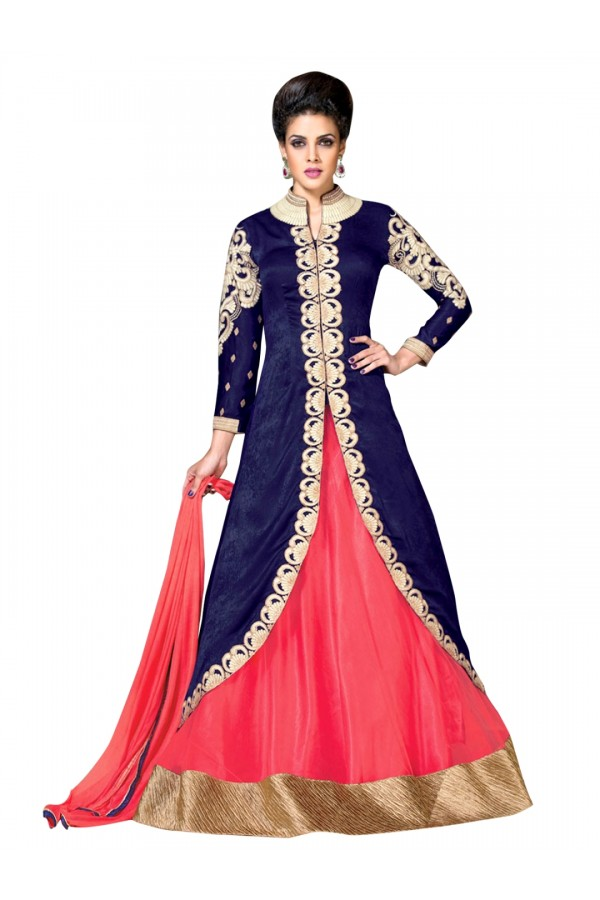 Wedding Wear Embroidered Raw Silk Blue Lehenga Suit - EBSFSK302031 ( EBSFSK30  )
