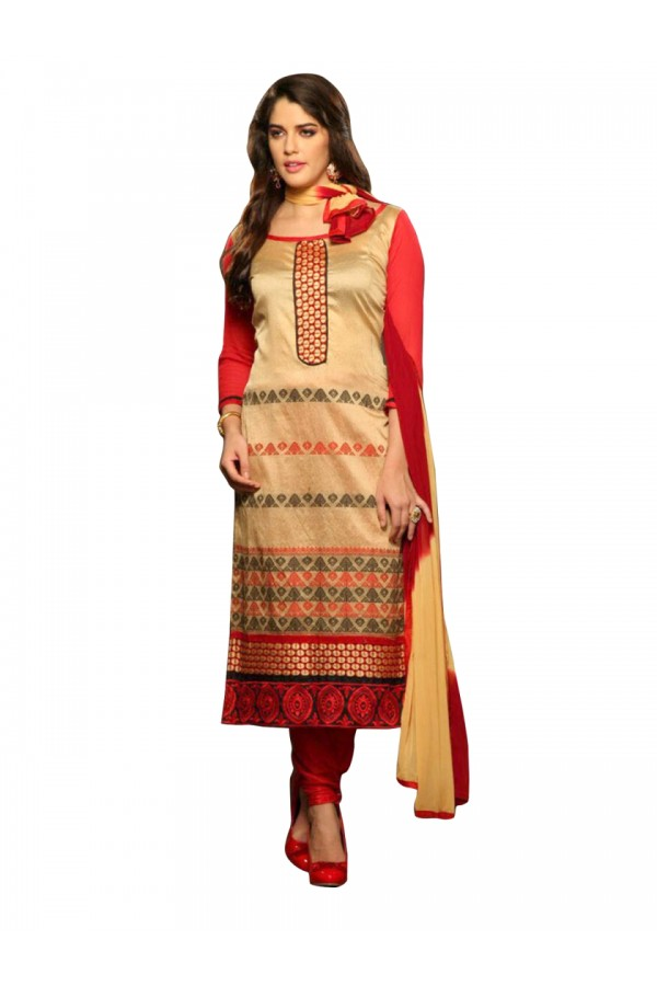 Casual Wear Jacquard Cream Salwar Suit - EBSFSK317018