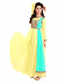Party Wear Net Yellow Gown - EBSFSK317001C