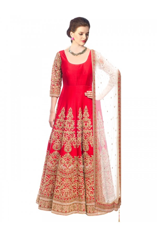 Wedding Wear Bhagalpuri Red Anarkali Salwar Suit - EBSFSK317008