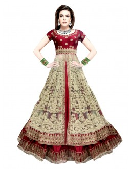 Wedding Wear Net Red & Cream Lehenga Suit - EBSFSK317007