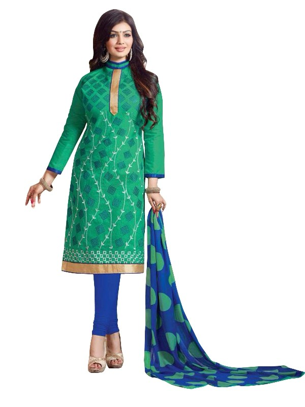 Chanderi Green Salwar Suit - EBSFSKRB334072