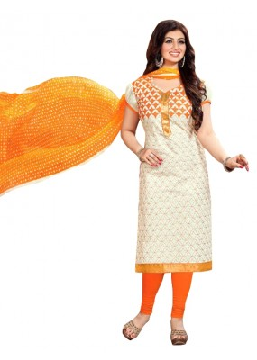 Chanderi Off White Salwar Suit - EBSFSKRB334071