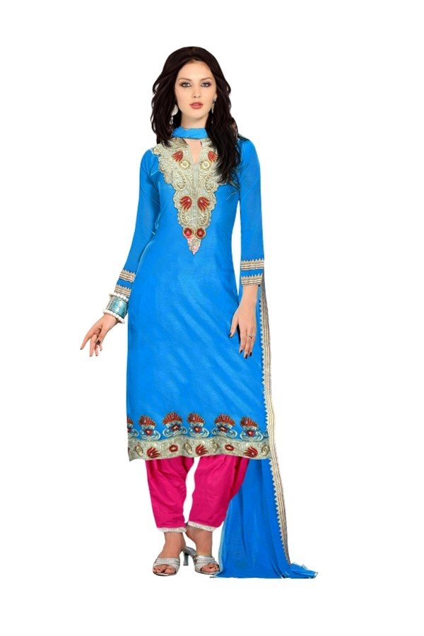 Cotton Blue Salwar Suit - EBSFSKRB334081